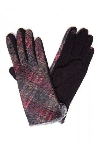 Manusi touch screen negre cu lana in carouri si bordura blana eco