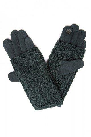 Manusi verde inchis touch screen cu protectie tricotaj