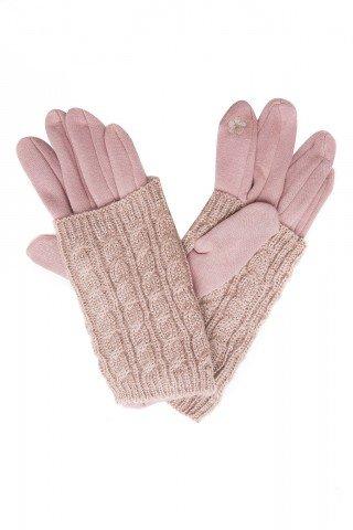 Manusi touch screen roz prafuit cu protectie tricotata