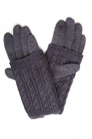 Manusi gri touch screen cu protectie tricotaj