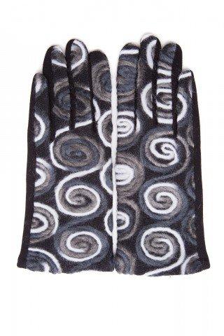 Manusi elegante negre cu broderie din lana