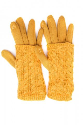 Manusi galbene touch screen cu protectie tricotaj