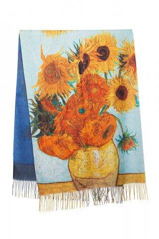 Esarfa casmir cu imprimeu dupa tabloul Sunflowers de Van Gogh