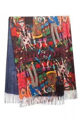 Esarfa din casmir multicolora cu imprimeu Family Fun