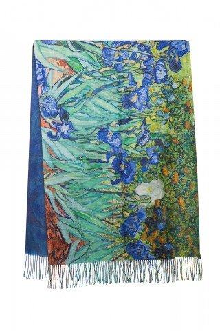 Esarfa din casmir cu imprimeu dupa tabloul Irisii de Van Gogh