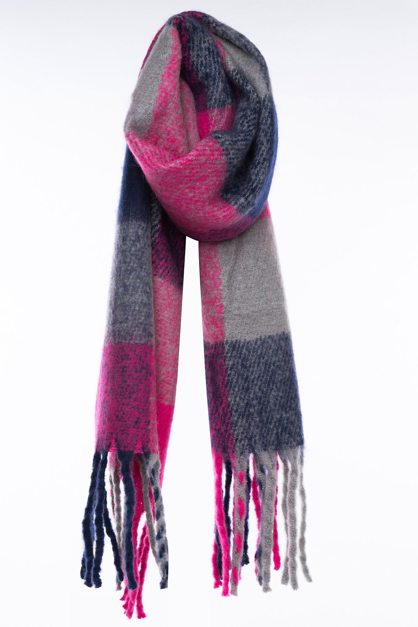 Esarfa calduroasa din lana in carouri multicolore cu franjuri