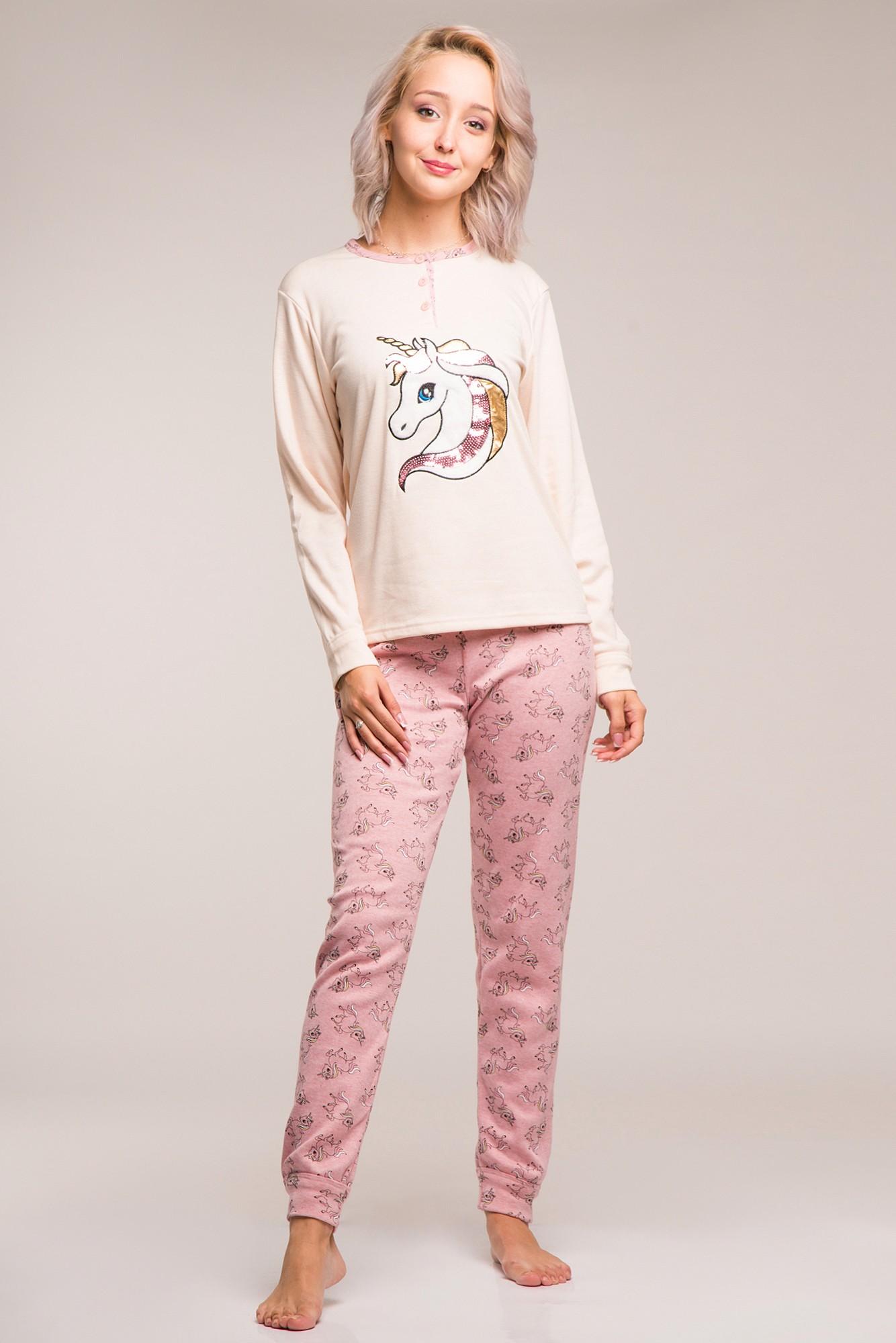 Pijama flausata roz pal cu unicorni si nasturi decorativi