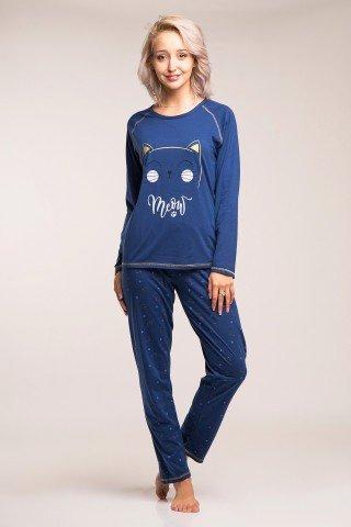 Pijama bleumarin din bumbac Meow