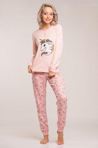 Pijama flausata confortabila cu unicorni culoarea piersicii