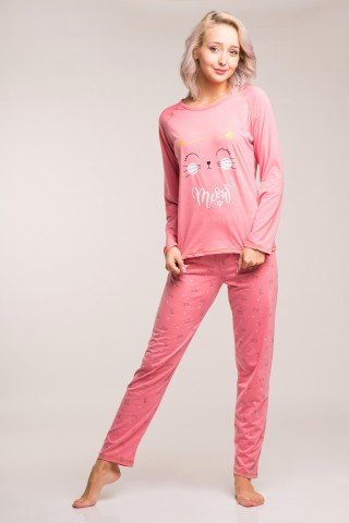 Pijama roz cu pisici Meow
