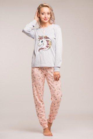 Pijama flausata cu unicorni roz-bleu si aplicatie cu paiete