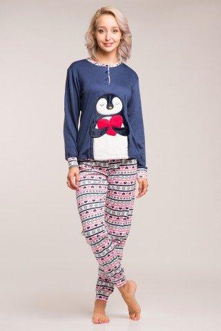 Pijama flausata bleumarin cu aplicatie Pinguin pufos si pantaloni multicolori