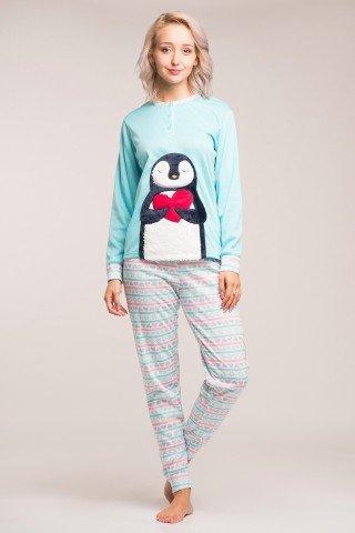 Pijama flausata bleu cu pantaloni multicolori Pinguin Indragostit