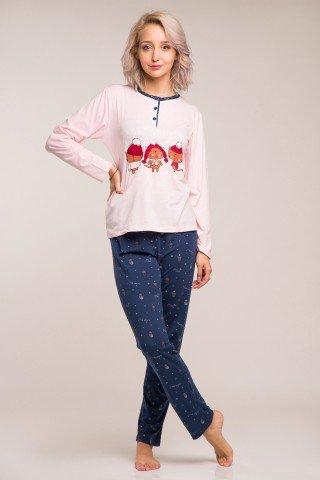 Pijama de Craciun roz-blueumarin cu pisici