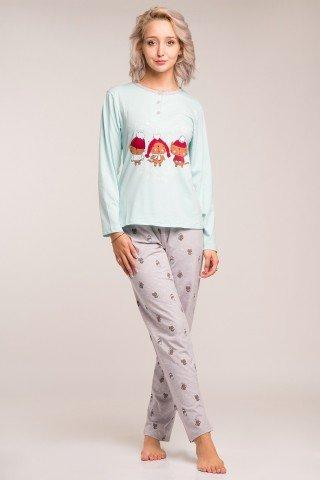 Pijama de Craciun bleu-gri cu pisici