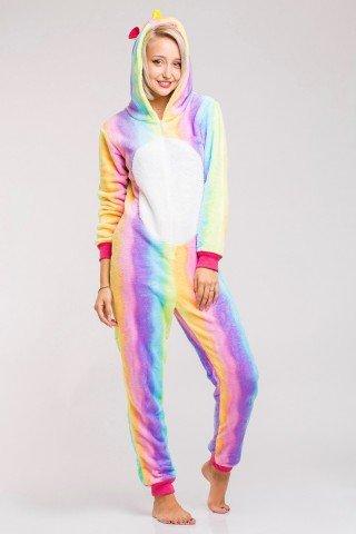 Pijama intreaga kigurumi Unicorn Curcubeu