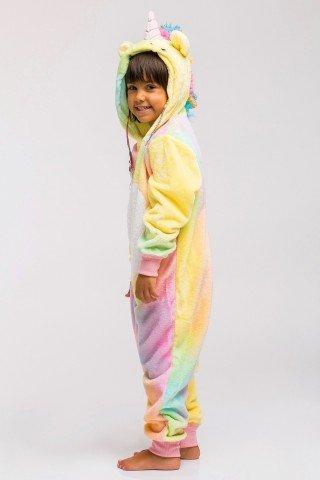 Pijama pufoasa kigurumi Unicorn multicolor