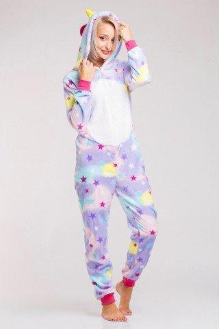 Pijama intreaga multicolora Unicorn cu stelute