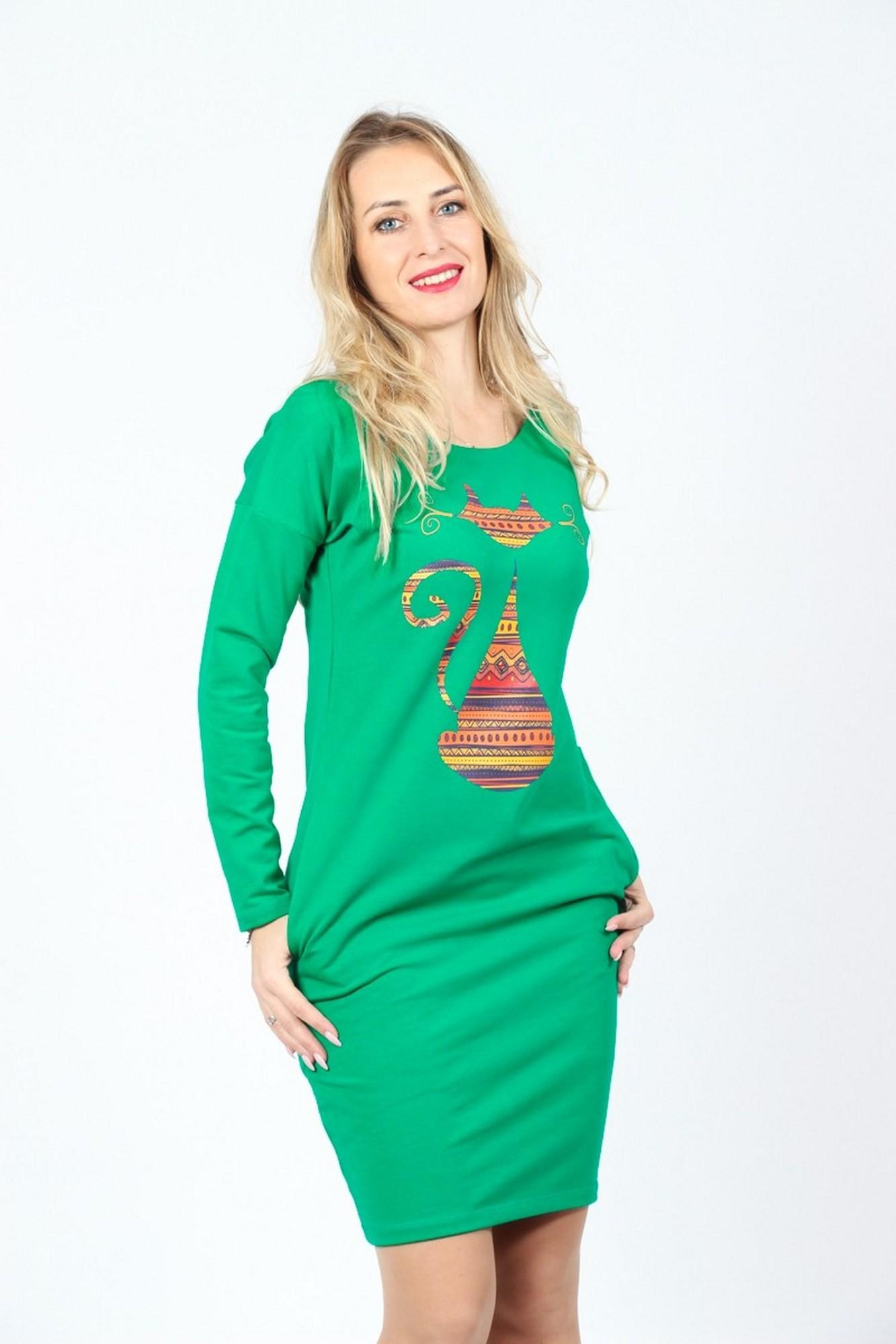 Rochie cu pisica etnica din bumbac verde