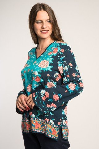 Bluza bleumarin cu imprimeu floral multicolor si anchior