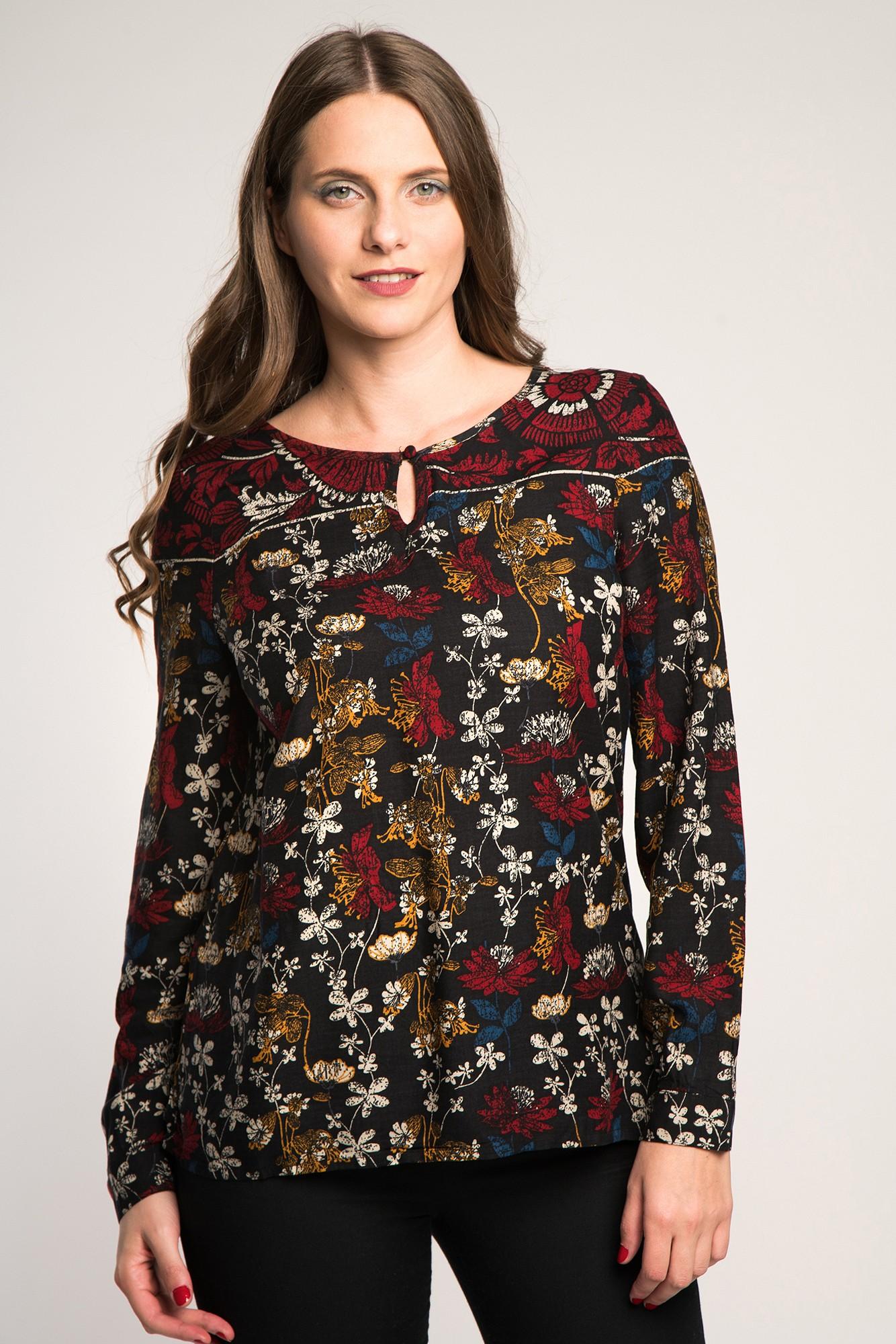 Bluza casual neagra cu imprimeu floral multicolor