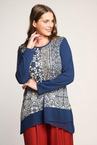 Bluza albastra cu fata asimetrica stil batic