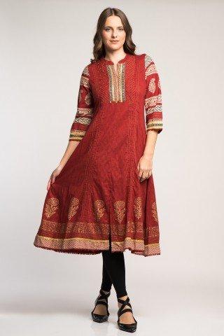 Costum traditional indian cu tunica eleganta caramizie