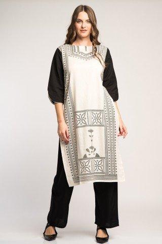 Costum traditional indian alb-negru cu motive etnice