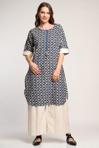 Costum traditional indian cu imprimeu geometric bleumarin
