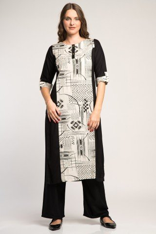 Costum traditional indian alb-negru cu imprimeu