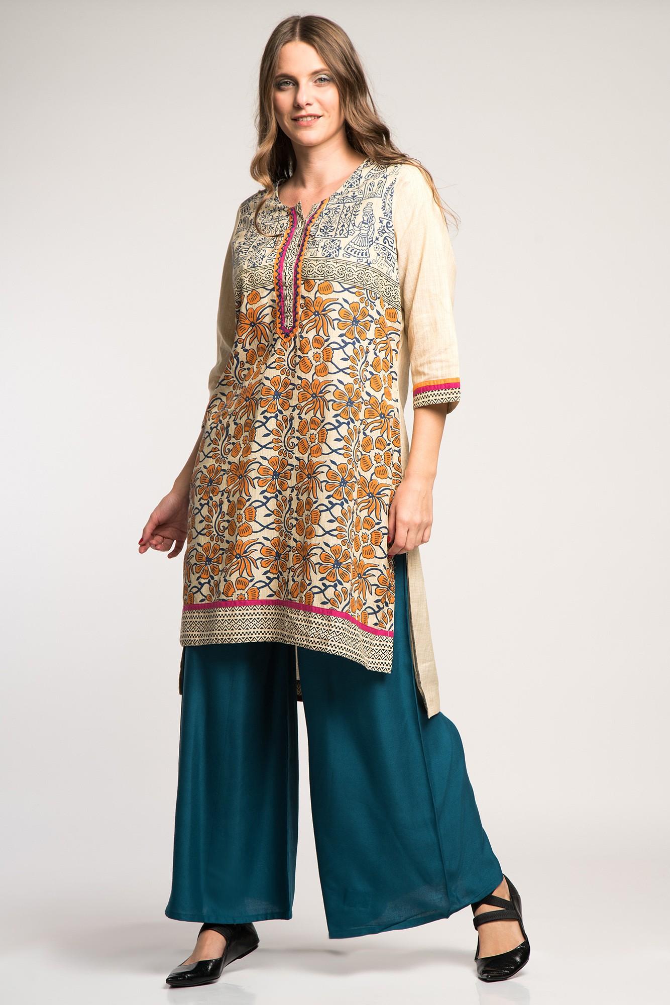 Costum traditional indian cu pantaloni palazzo si imprimeu floral