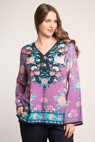 Bluza lila cu imprimeu floral multicolor