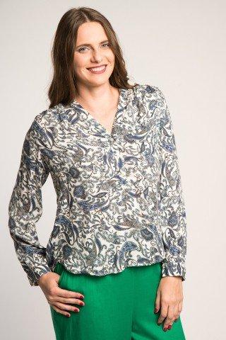 Bluza alba cu imprimeu paisley blue