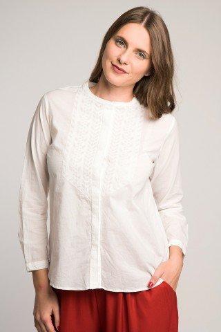 Camasa alba cu briderie si guler tunica