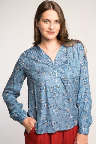 Bluza asimetrica albastra cu imprimeu floral