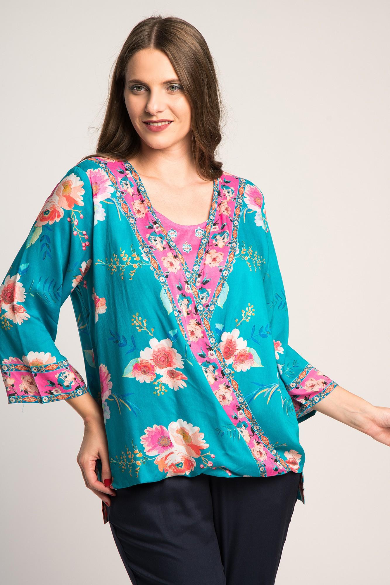 Bluza asimetrica imprimeu floral multicolor