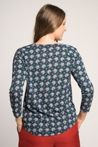 Bluza bleumarin cu imprimeu floral si decolteu cu pliuri