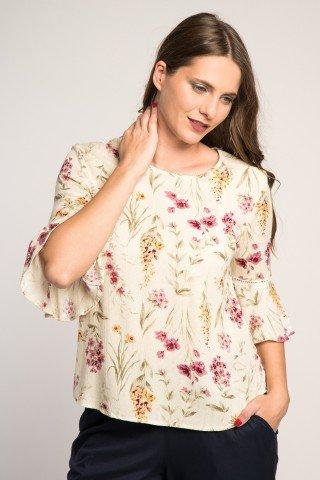 Bluza crem cu imprimeu floral si maneci cu volane