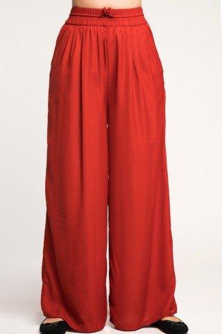 Pantaloni caramizii largi cu elastic in talie