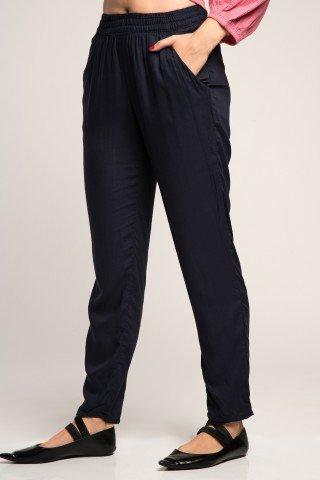 Pantaloni bleumarin cu elastic in talie si buzunare