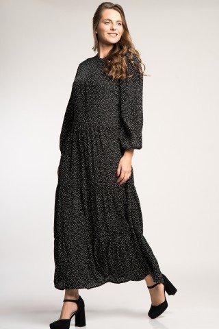 Rochie lunga neagra cu buline albe si volan