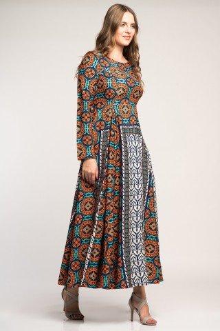 Rochie eleganta lunga cu impimeu etnic multicolor