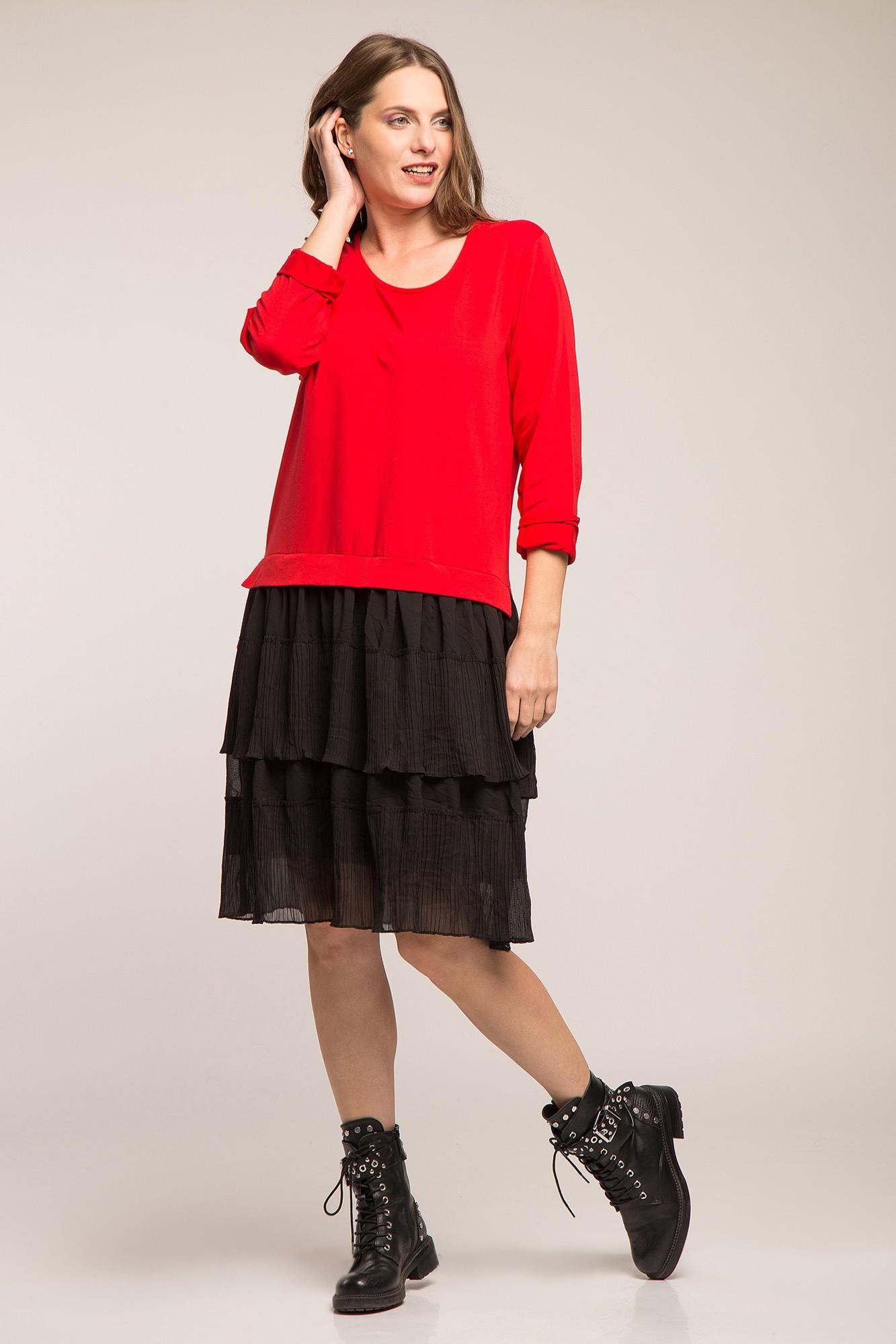 Rochie hanorac bumbac gros rosu si volane negre creponate