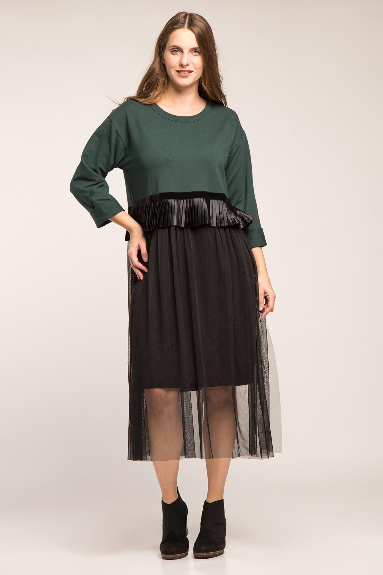 Rochie cu bumbac gros verde, volan plisat si tulle negre