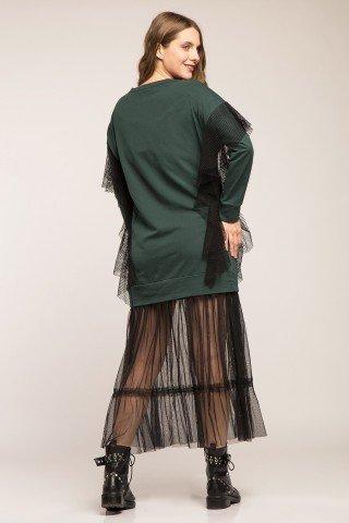 Rochie hanorac verde cu volane din plasa si tulle