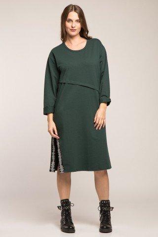 Rochie din bumbac verde cu slit cu panglica imprimata