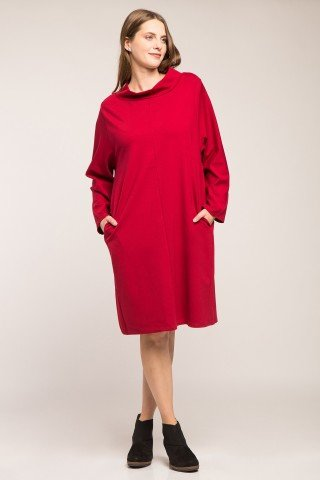 Rochie rosie din bumbac gros cu guler si buzunare