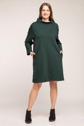 Rochie verde din bumbac gros cu guler