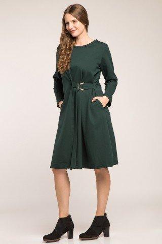 Rochie verde cu cordon atasat si catarama