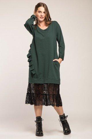 Rochie hanorac verde cu volane si dantela neagra